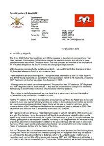 1st Arty Brigade Reorganisation 1
